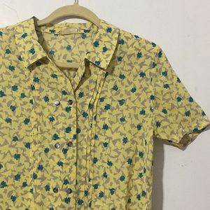 Vintage Yellow Floral Buttoned Shirt Sz S